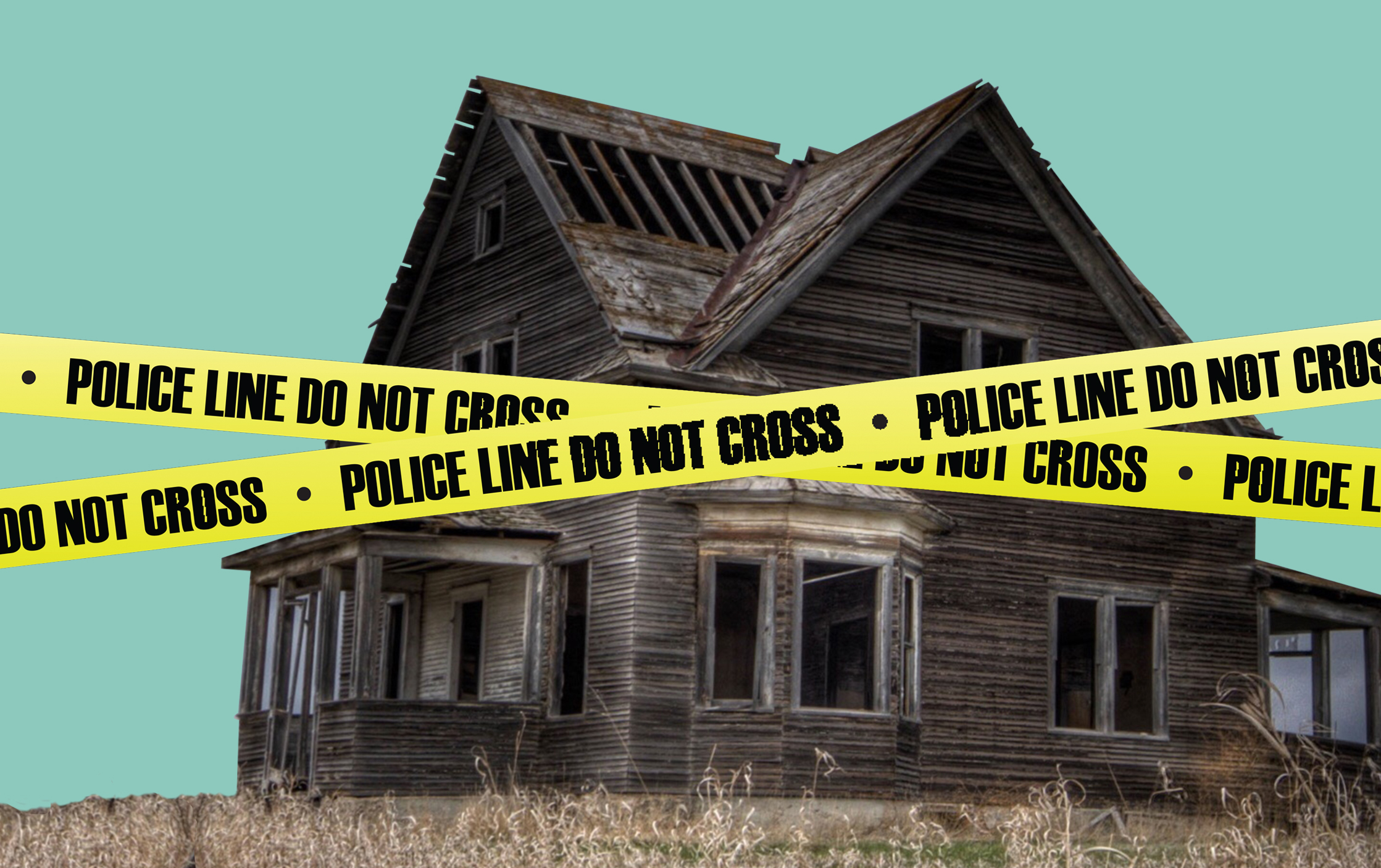 haunted house with caution tape
