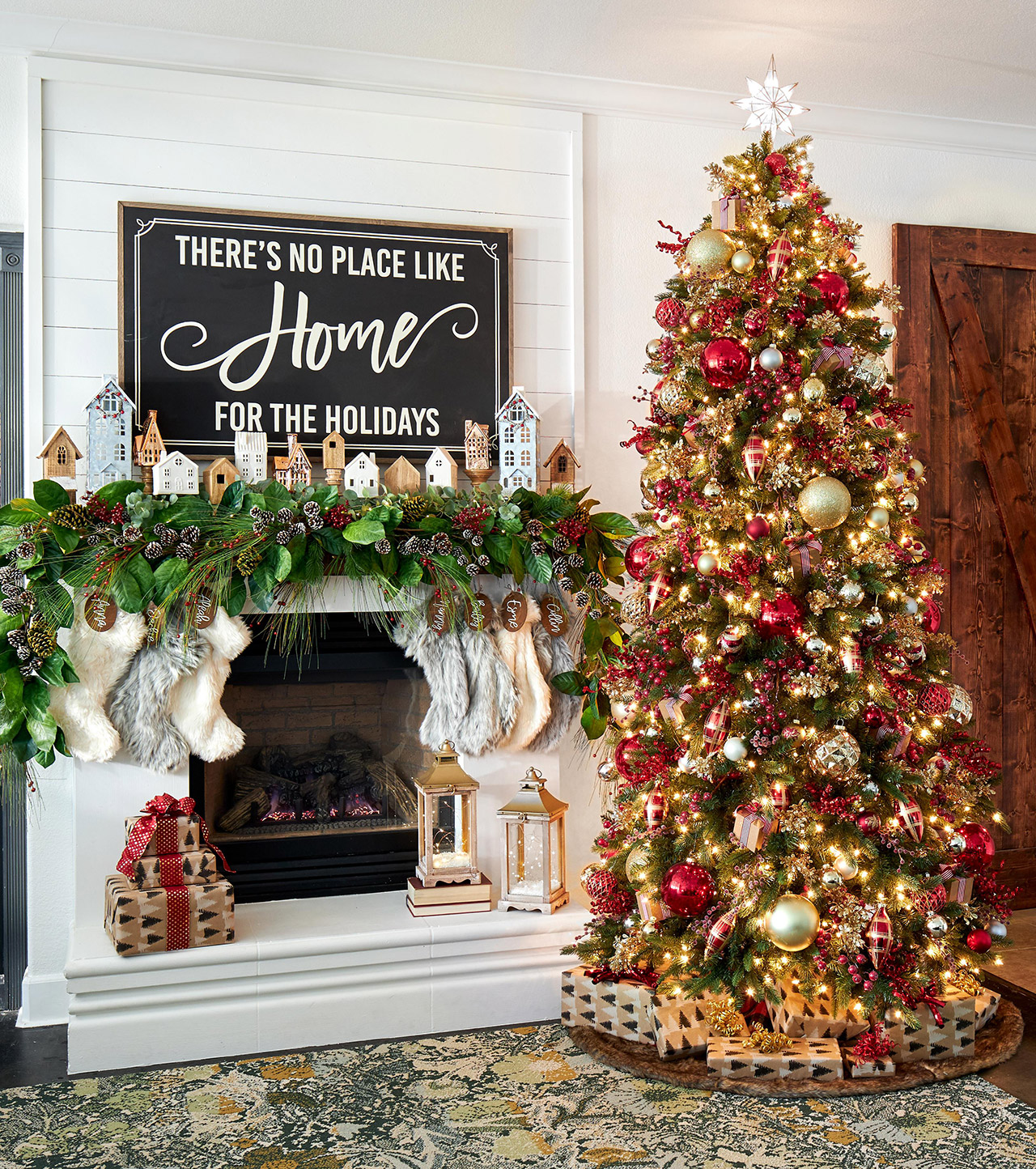 red gold holiday tree decorated fireplace