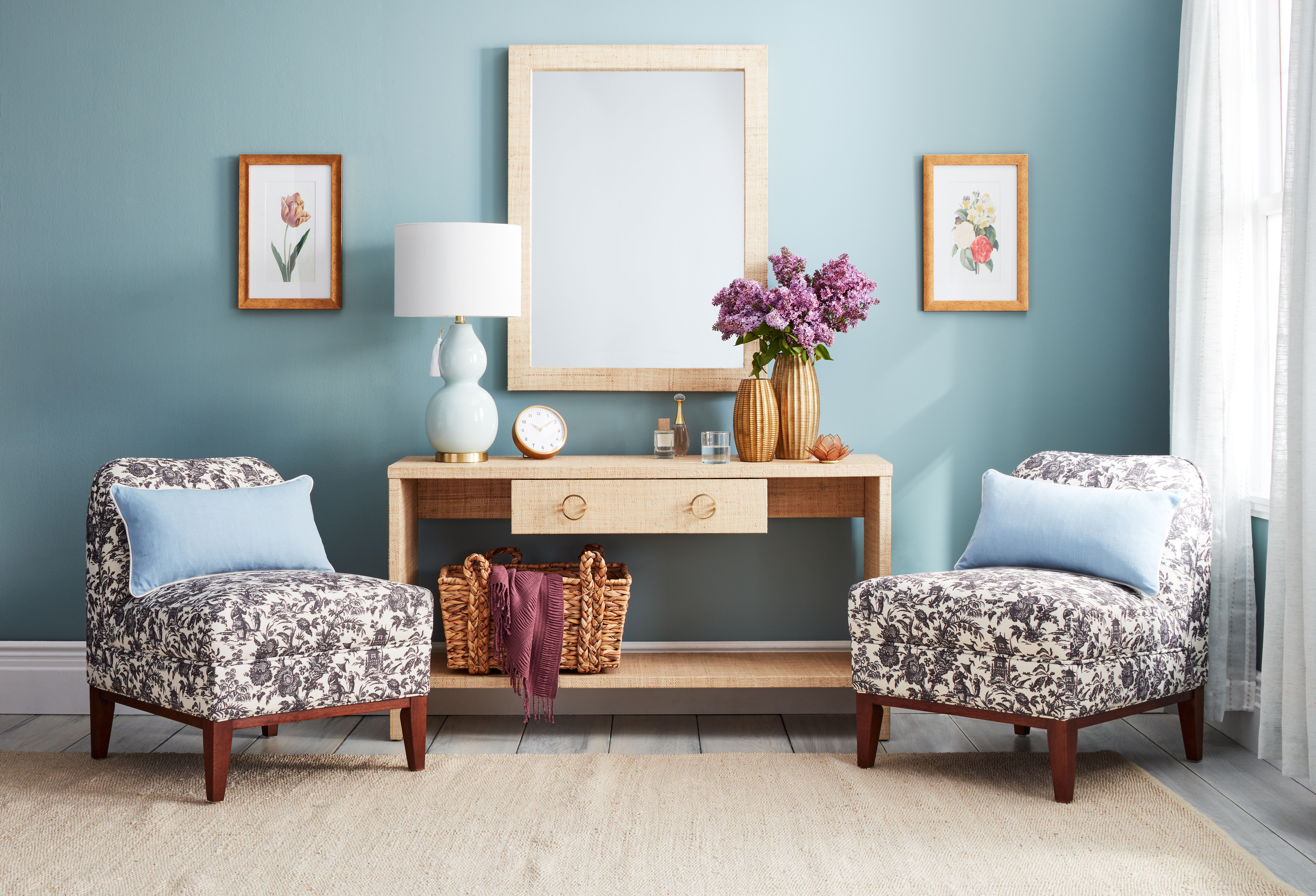 room furnished with pieces from one kings lane open house