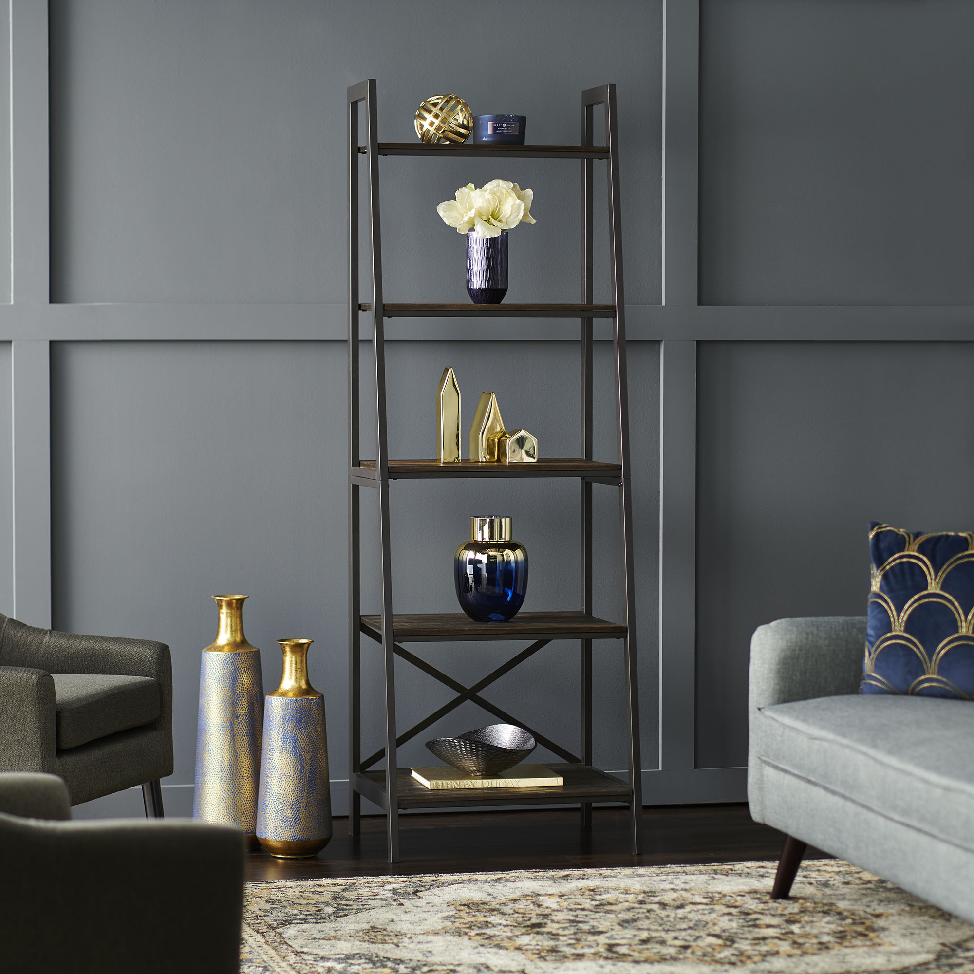 shelf with navy and gold decor in living room
