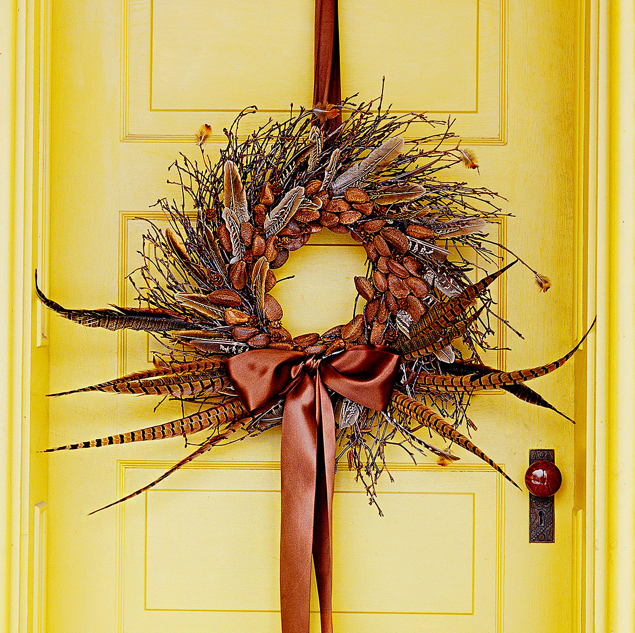 Wreath made of pheasant feathers