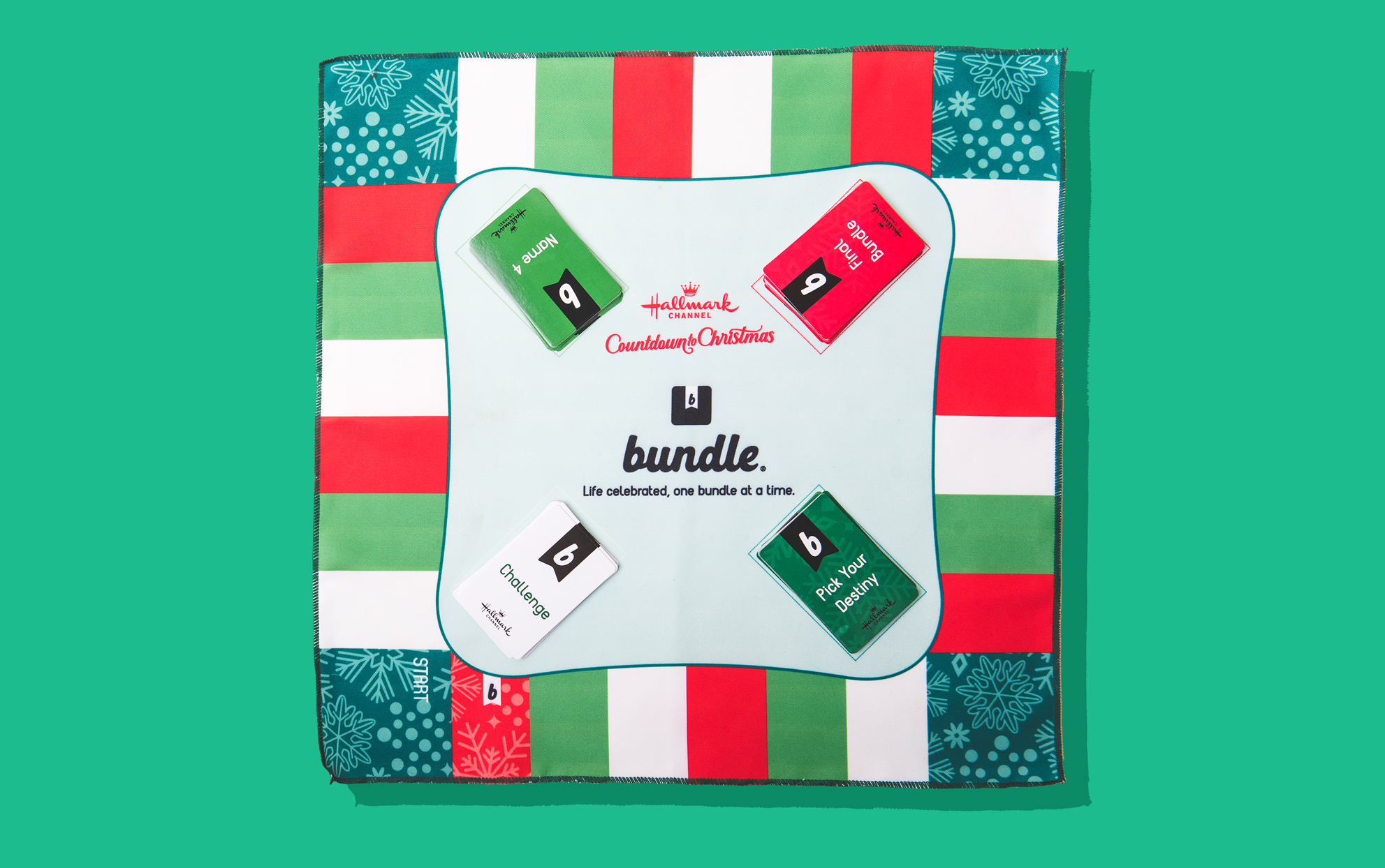 red white and green cloth board game on a green background