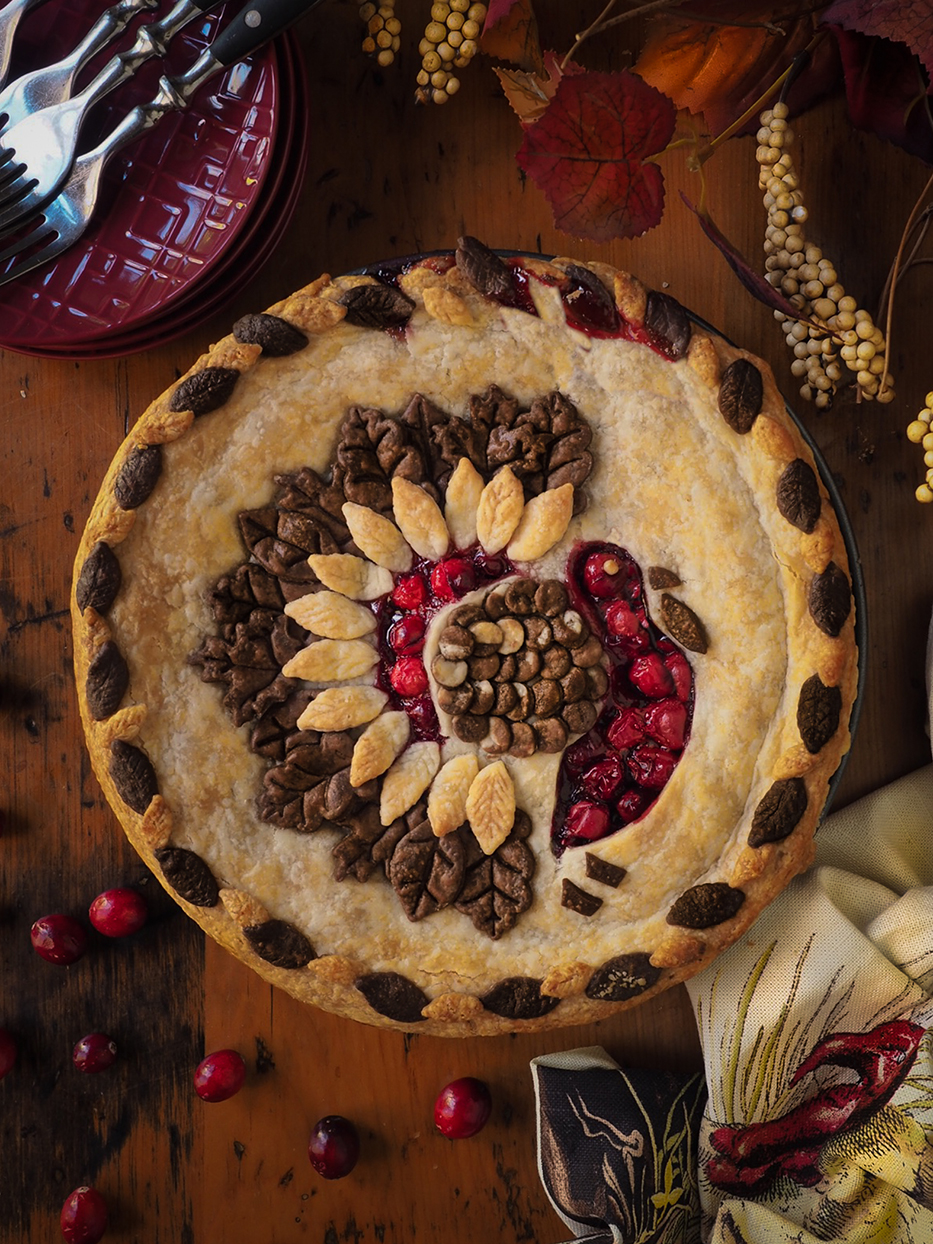 baked pie with turkey decorated on it