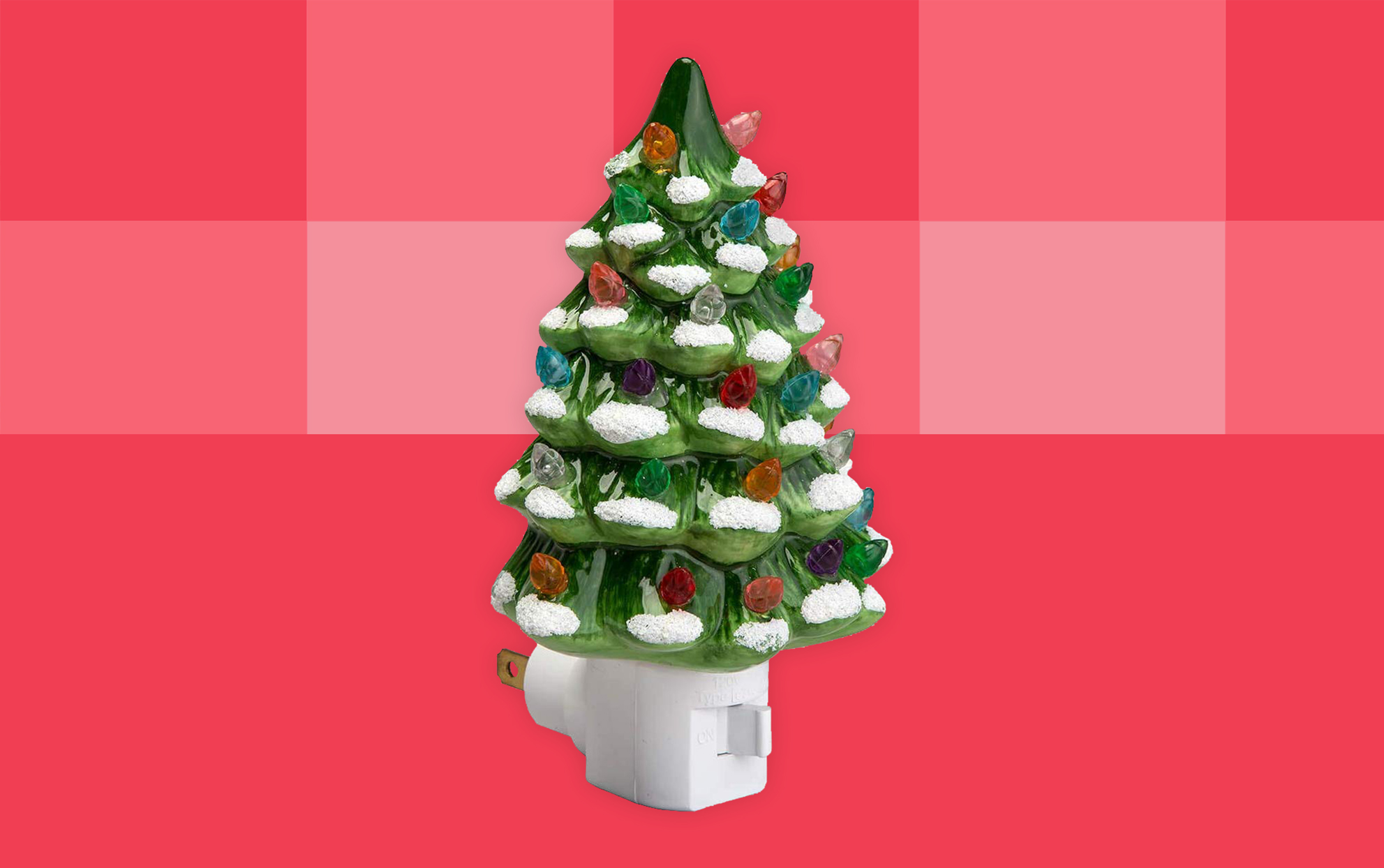 green snow-capped ceramic christmas tree night light