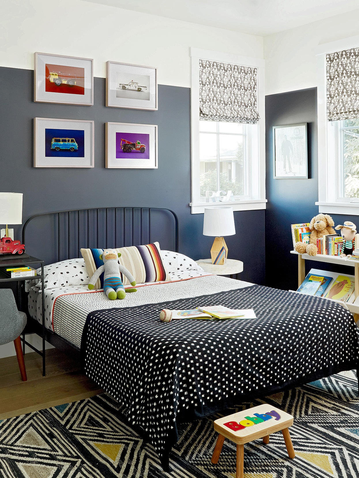 kid's bedroom with two-toned high-contrast paint treatment