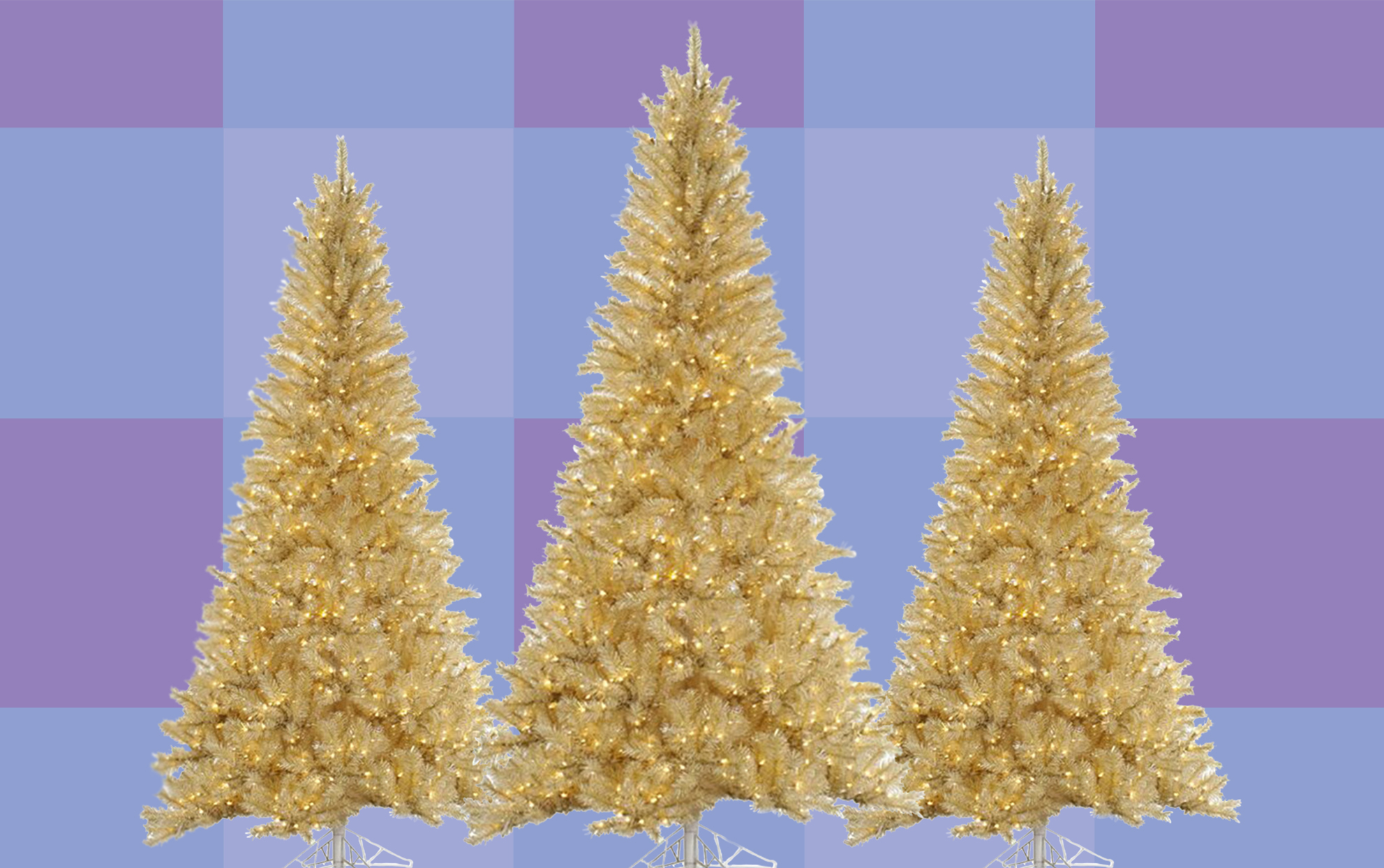 Three gold Christmas trees with lights on a colored background