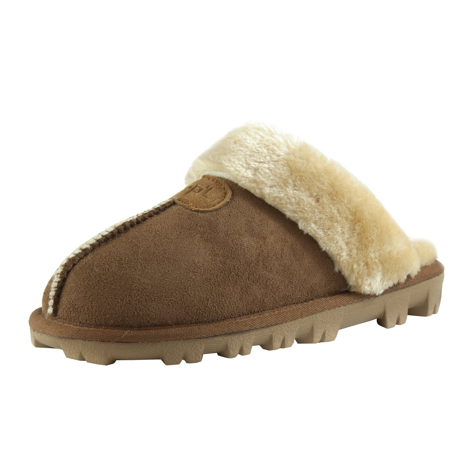 CLPP'LI Womens Slip on Faux Fur Warm Winter Mules Fluffy Suede Comfy Slippers
