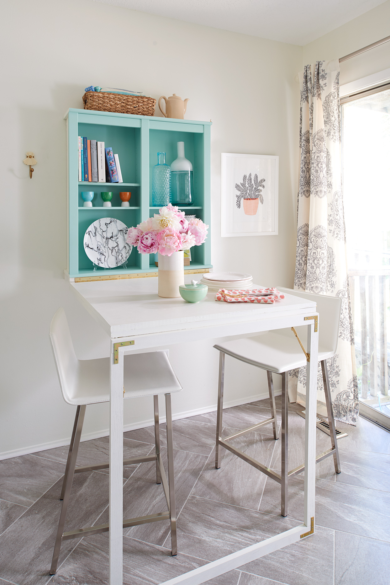 Save Space With This Adorable Fold Down Table That Doubles As A Desk Better Homes Gardens