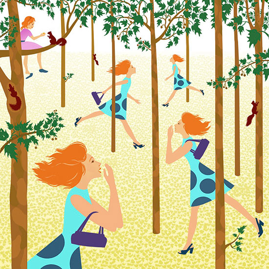 Women searching in woods