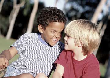 Two Boys Laughing at Each Other