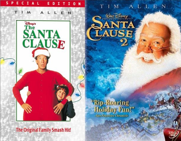 Santa Clause 1 and 2 Movie Covers