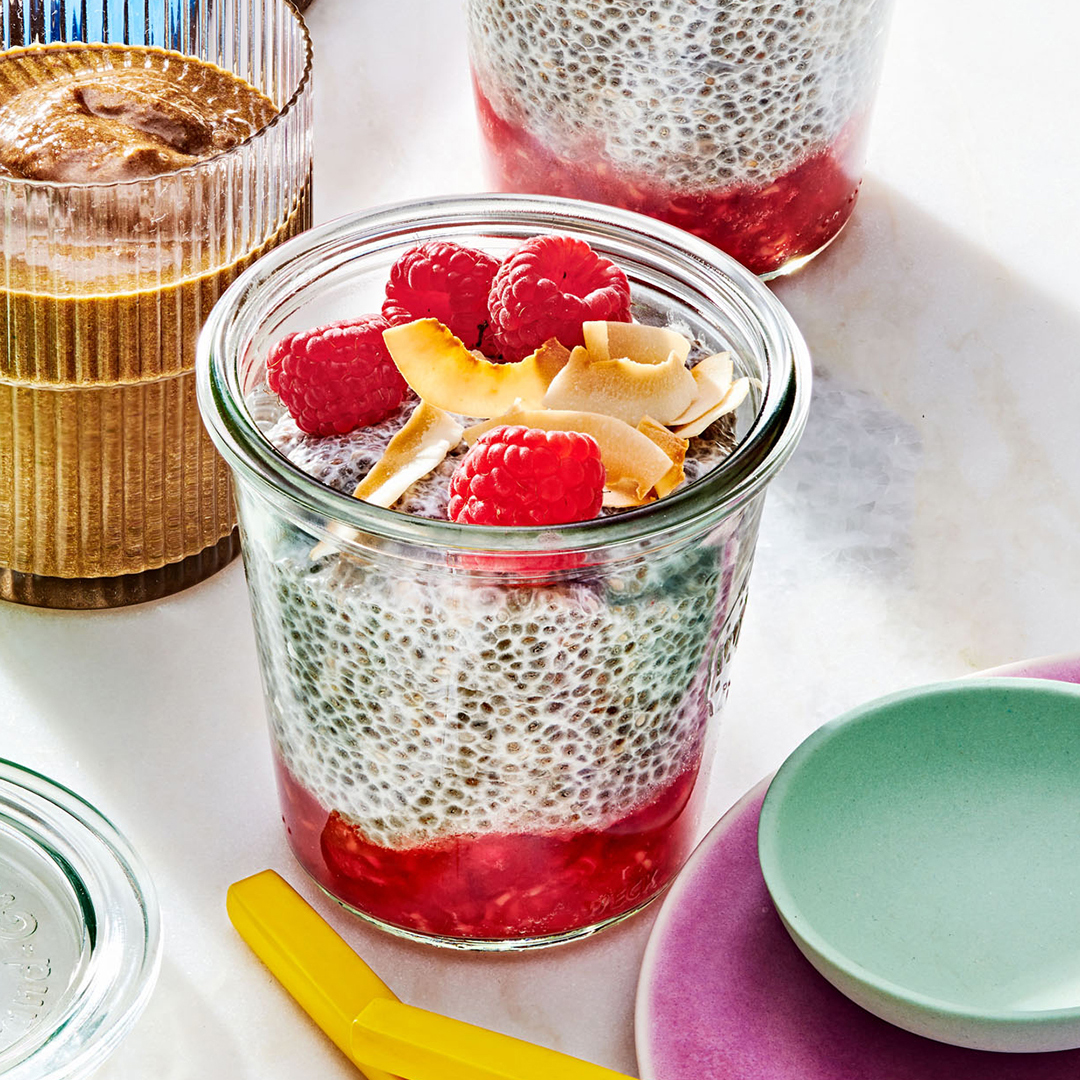 Berries-on-the-Bottom Chia Pudding with raspberries