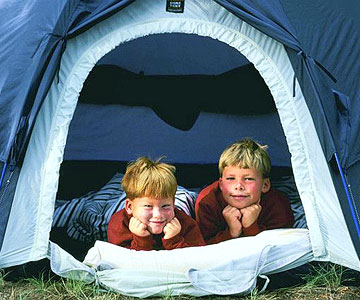 Two boys in tent