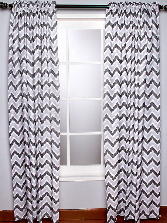 Bacati grey zigzag curtains