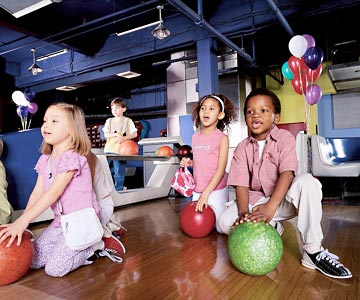 Children at the bowling alley