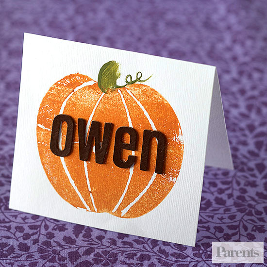 Apple Print Pumpkin Place Card