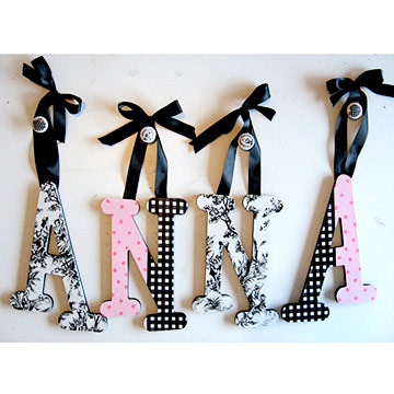 Pink & Black Toile Letters