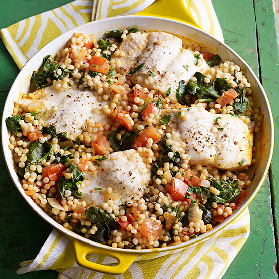 Halibut, Pearl Couscous and Harissa recipe image