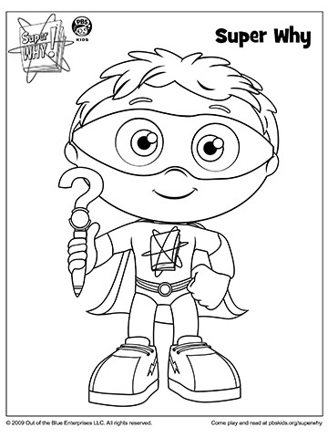 graphic relating to Super Why Printable called Tremendous WHY Coloring E book Webpages in opposition to PBS Dad and mom