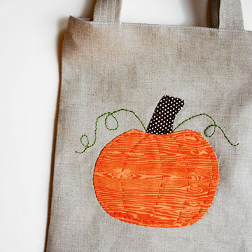 Embroidered Pumpkin Tote