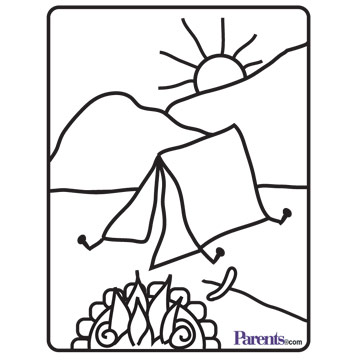 Camping Coloring Book Page