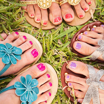 Women with painted toenails