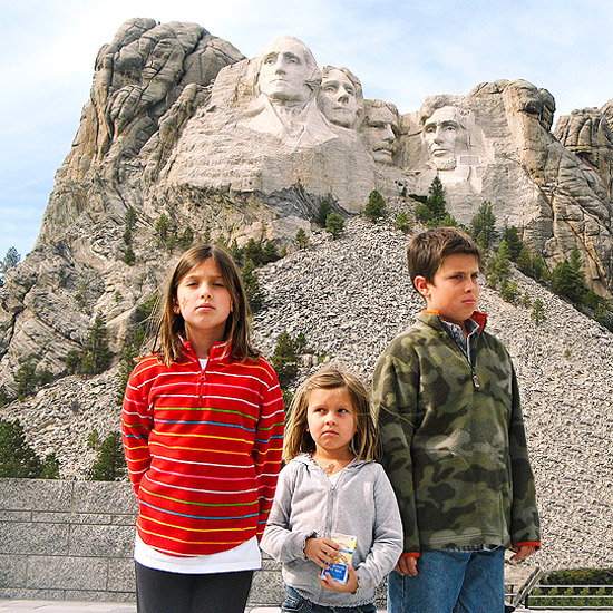 Family visiting Mount Rushmore