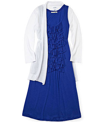 Ruffly Dress and Tie-Front Cardigan