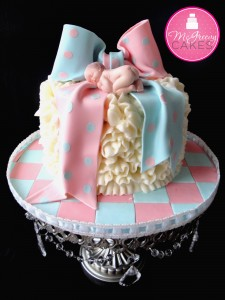 Gender Reveal Cakes Bow Baby McGreevy Cakes Akron New York