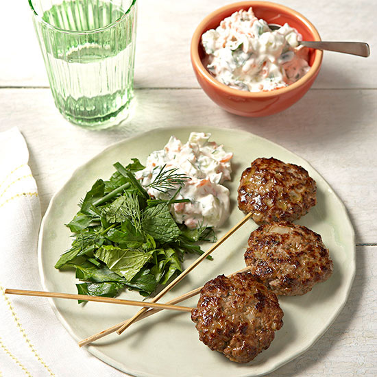 Minty Beef Lollies and Cucumber-Carrot Raita