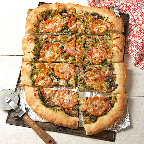 Pizza With Salami and Kale