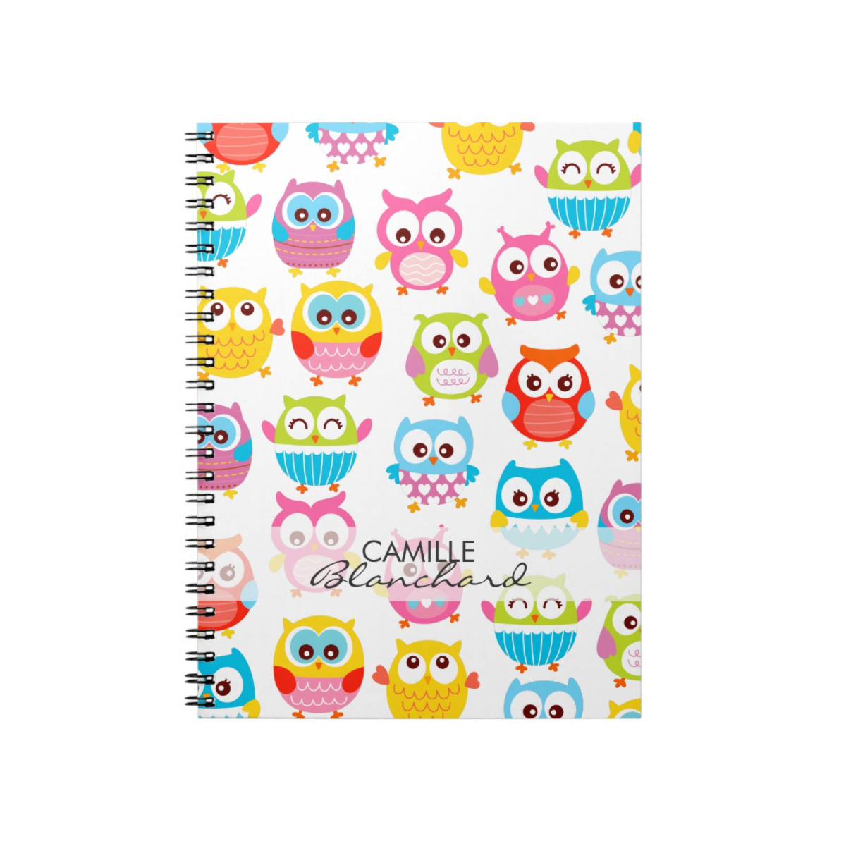 Personalized notebook with owl designs