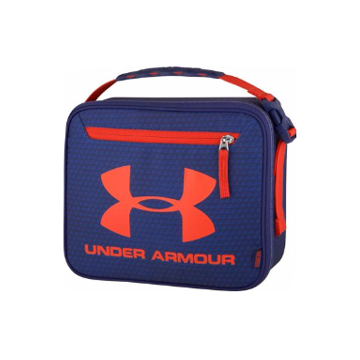 Blue and orange lunch box with hard interior