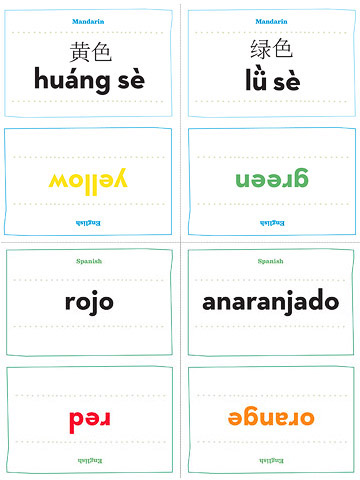 Mandarin Chinese and Spanish flash cards