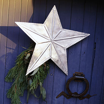silver star on blue door