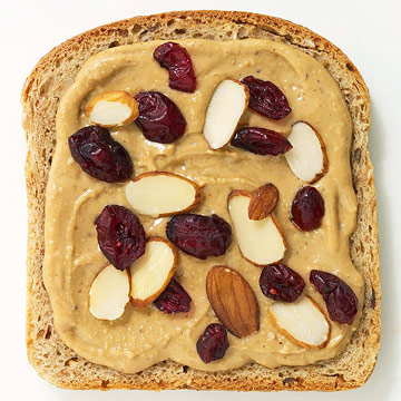 Almond butter with slivered almonds and dried cranberries