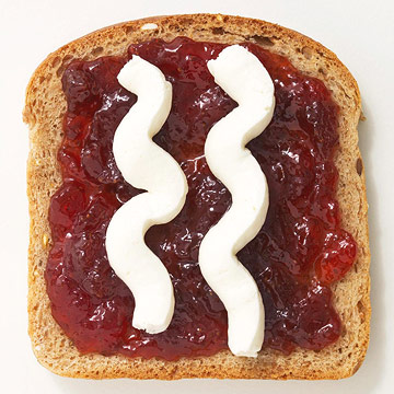 Reduced-sugar jam and cream cheese