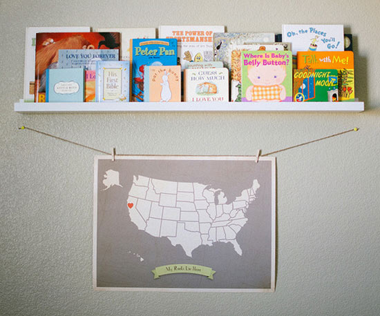 Bookshelf and map