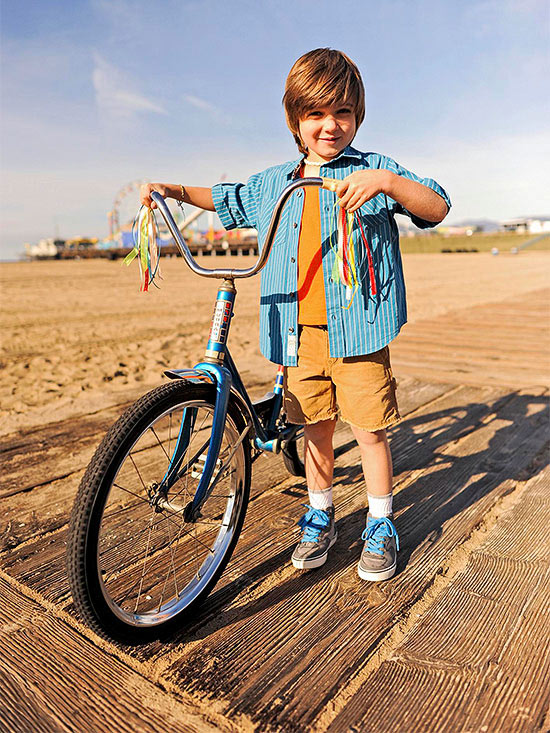 Boy ready to ride on the Marvin Braude Bike Trail