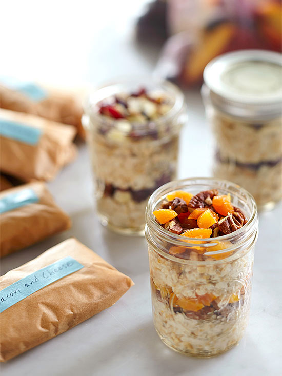 Jar of oatmeal, fruit, and nuts