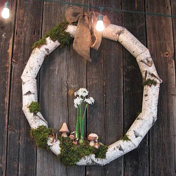 Rustic birch fall wreath
