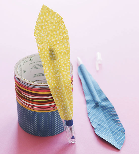 Quill pens made of tape and duct tape rolls