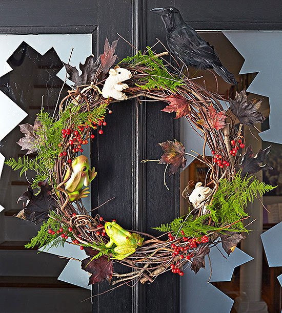 Decorated witch wreath