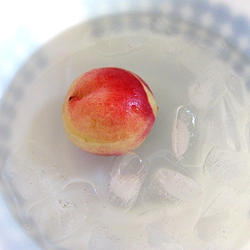 peach in ice bath