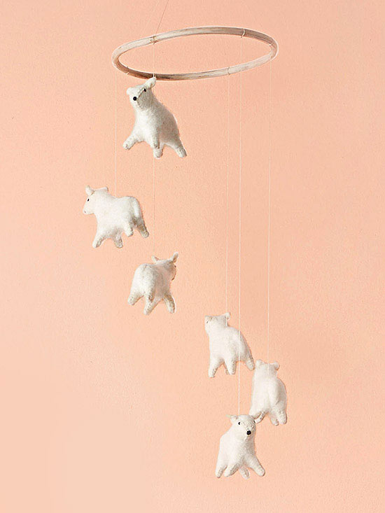 Hanging Sheep Mobile above crib