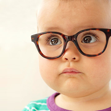 cute baby wearing glasses