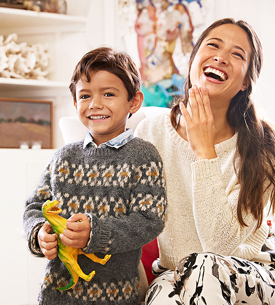 Mom and son laughing
