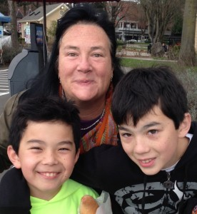 Lynne Brunelle and her sons