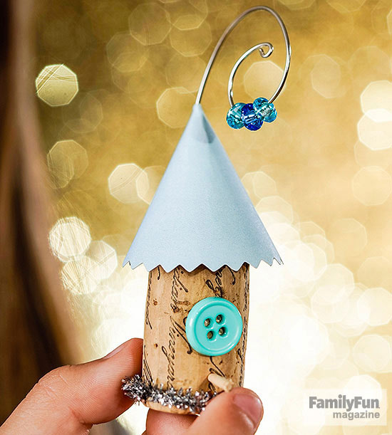 Cork birdhouse ornament with light blue roof