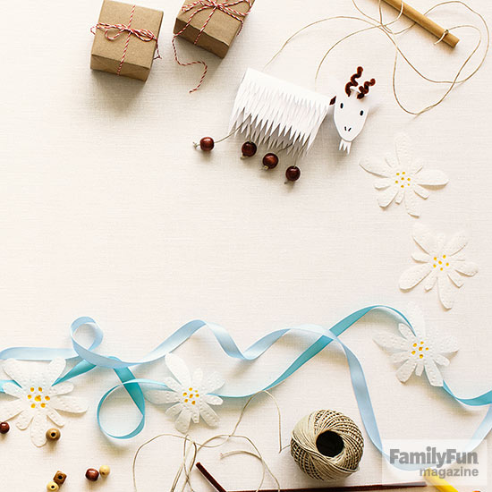 Blue ribbons and brown-paper packages